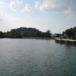 大きい池のある公園